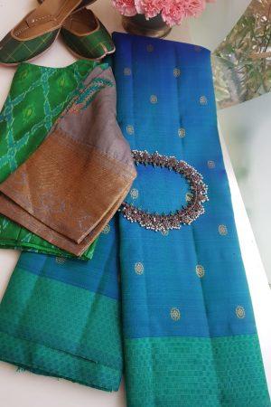 Blue green matte border kanchi silk saree
