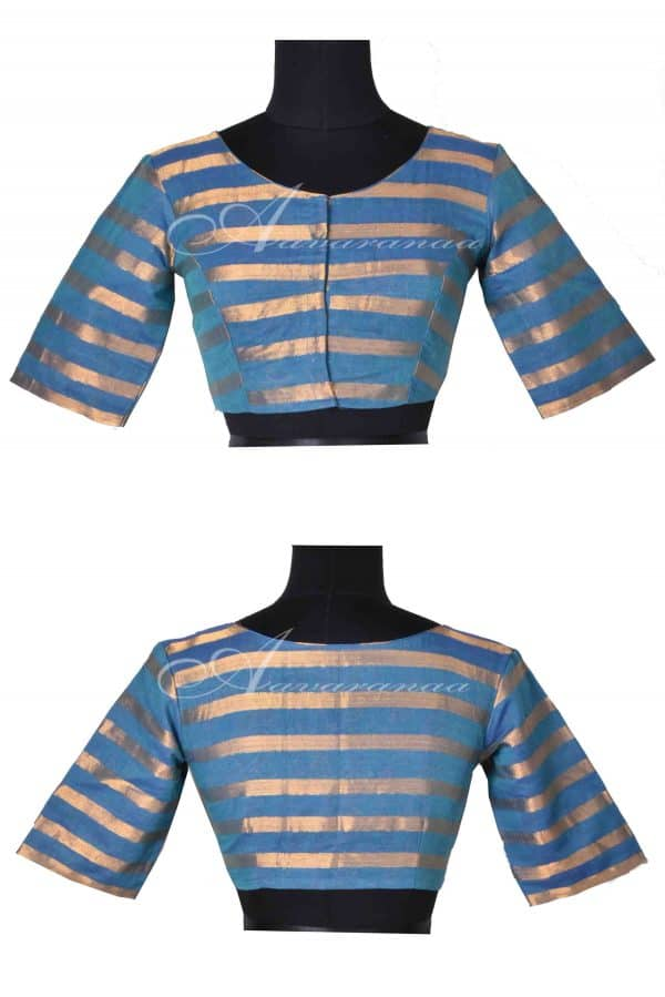 Blue mangalgiri cotton with gold stripes ready to wear blouse