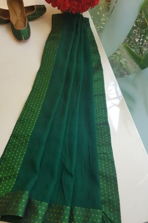 Bottle green chiffon dupatta with kanchi silk border