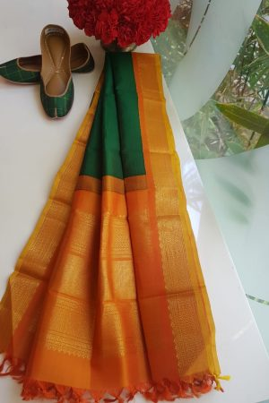 Bottle green kanchi silk dupatta with orange border