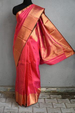 Bright pink small checks kanchi silk saree 1