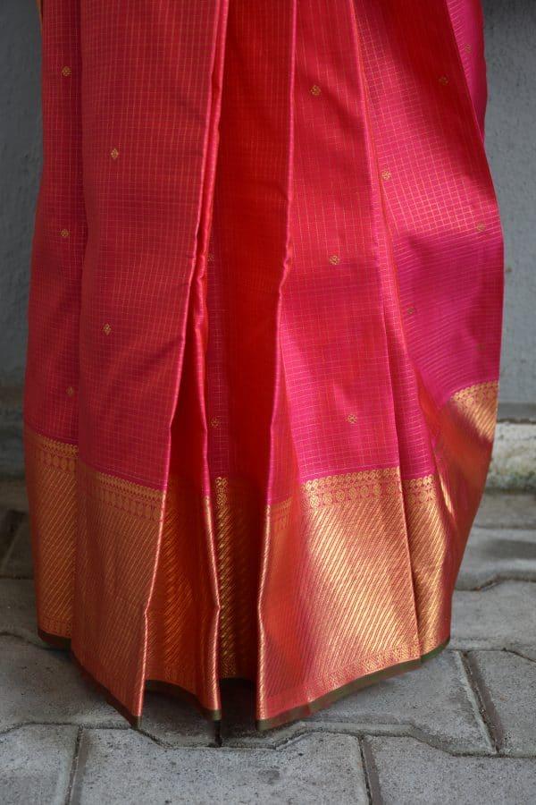 Bright pink small checks kanchi silk saree 2