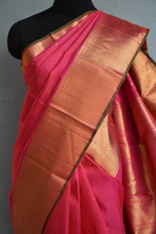 Bright pink small checks kanchi silk saree 3