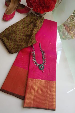 Bright pink small checks kanchi silk saree