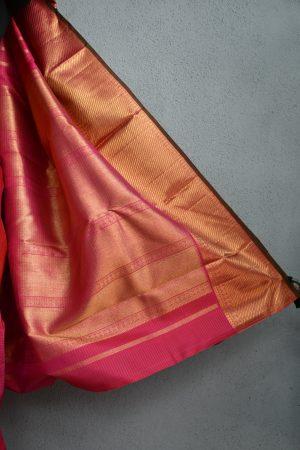 Bright pink small checks kanchi silk saree 4