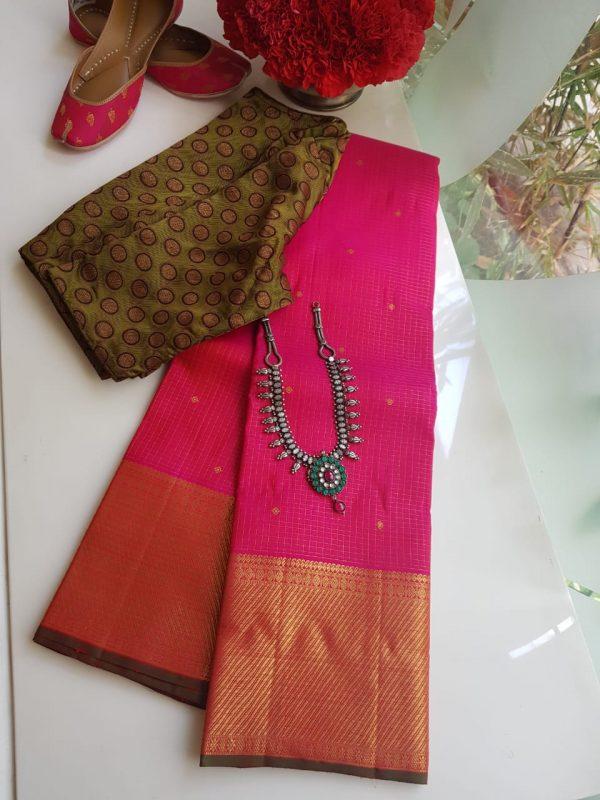 Bright pink small checks kanchi silk saree