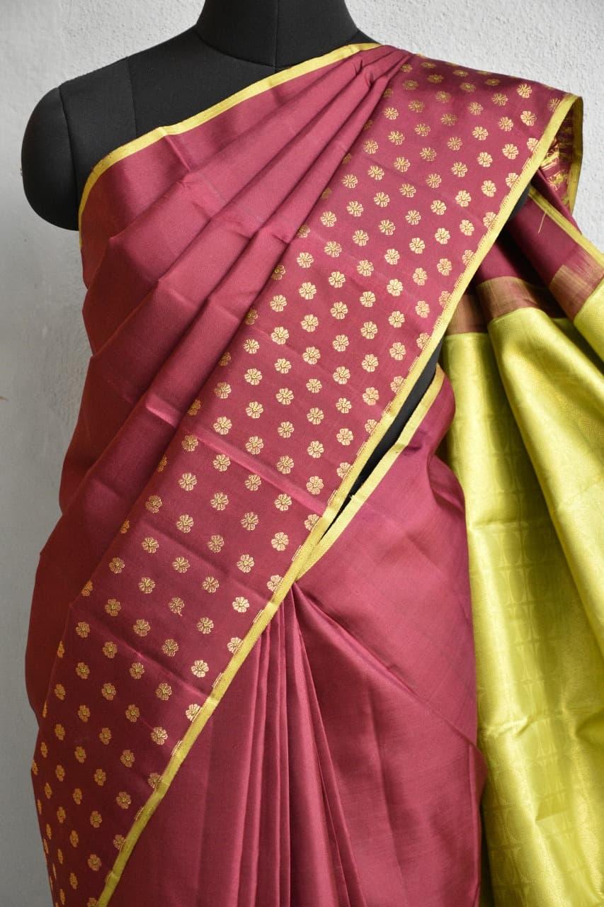 Brown meena work kancheepuram silk saree 1