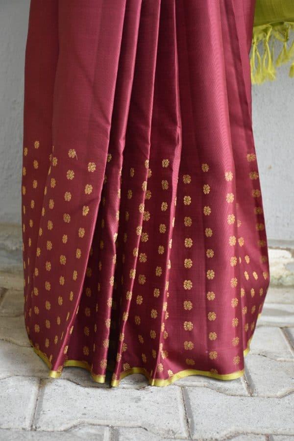 Brown meena work kancheepuram silk saree 2