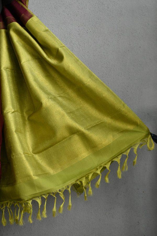 Brown meena work kancheepuram silk saree 3
