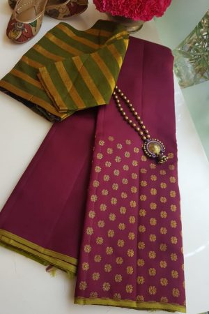 Brown meena work kancheepuram silk saree 5