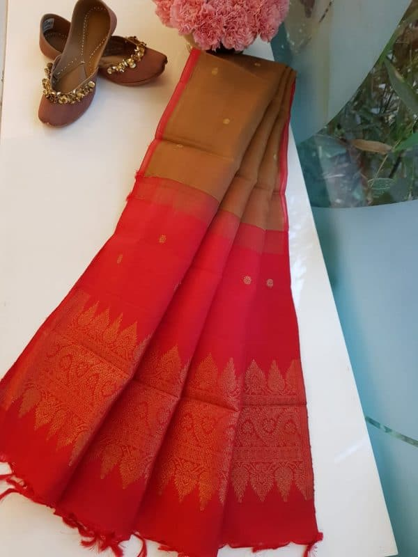 Brown with red Organza silk dupatta