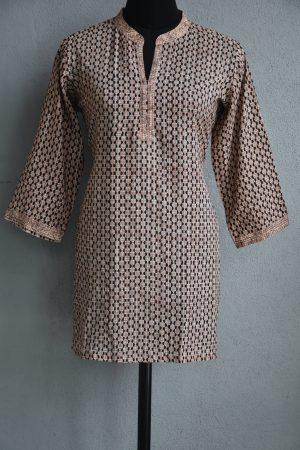 Cream and black dots cotton short kurta