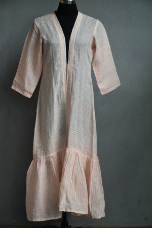 Cream and pink stripes linen tunic