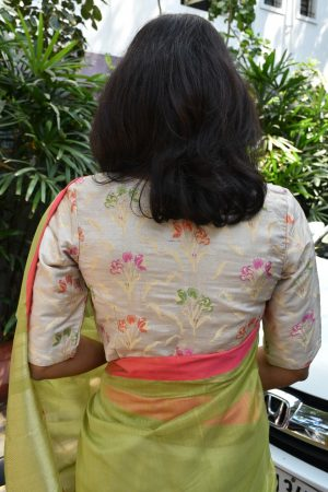 Cream benarasi brocade blouse back