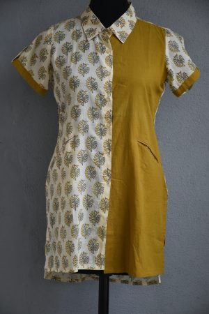Cream printed with mustard half an half cotton short kurti