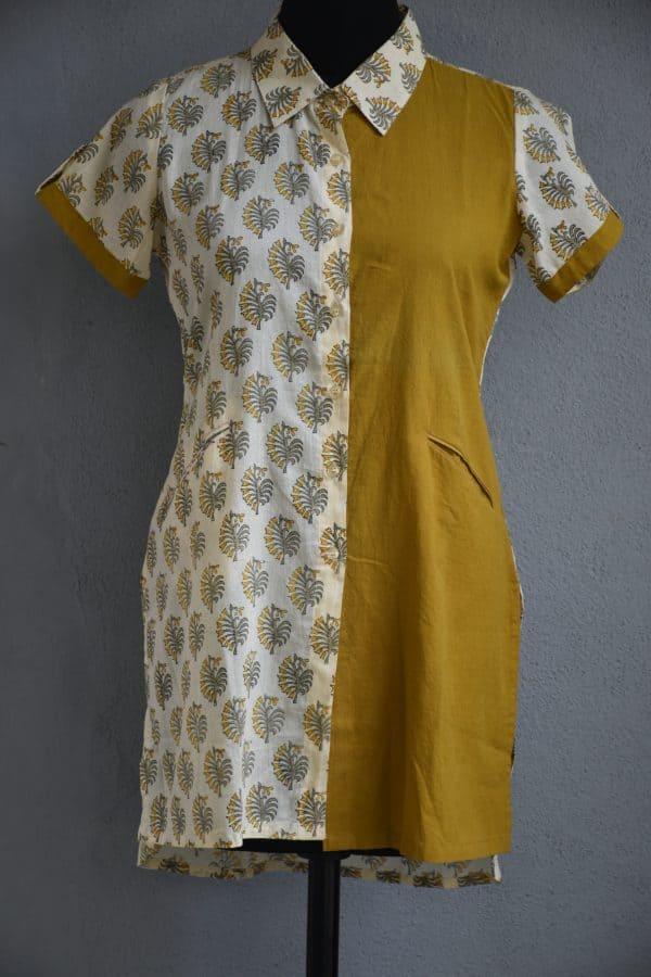Cream printed with mustard half an half cotton short kurti