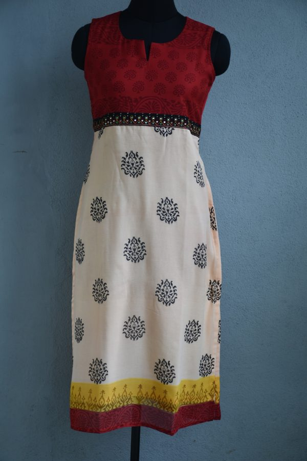 Cream printed with red yoke chiffon kurta