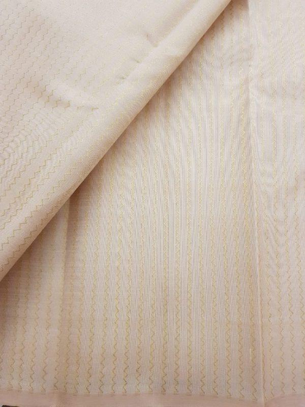 Cream zig zari zari kanchi silk fabric