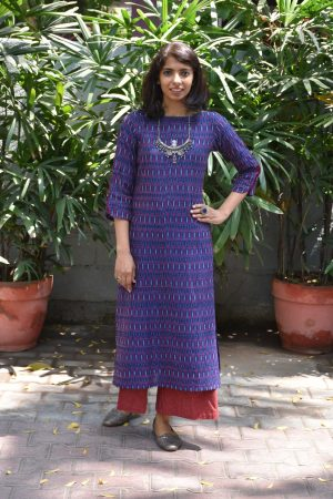 Dark blue ikat cotton kurta