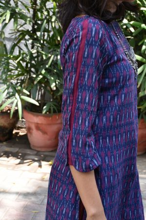 Dark blue ikat cotton kurta sleeve