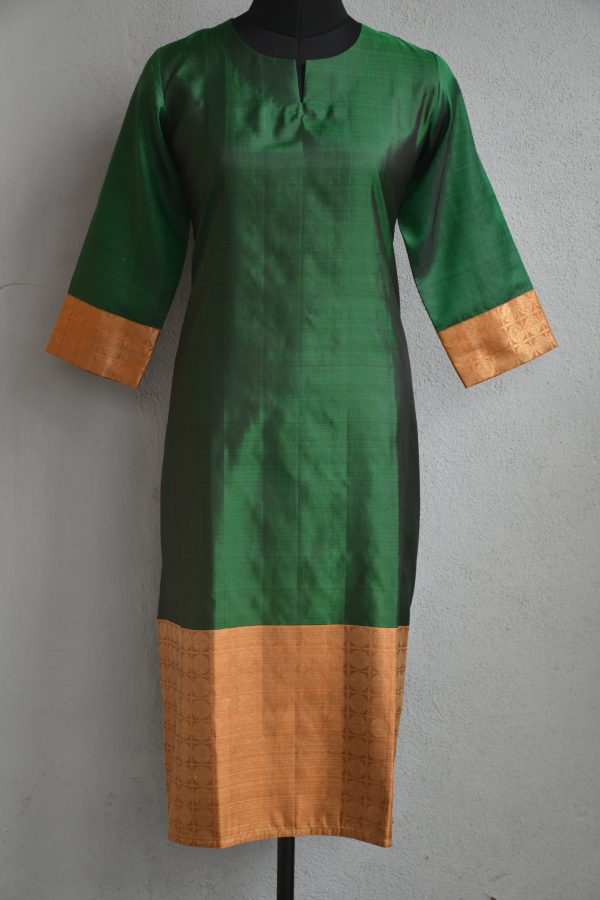 Dark green and mustard kancheepuram silk kurta