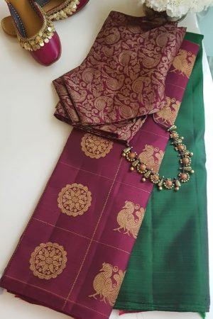 Dark green maroon mayil chakram kanchi silk saree