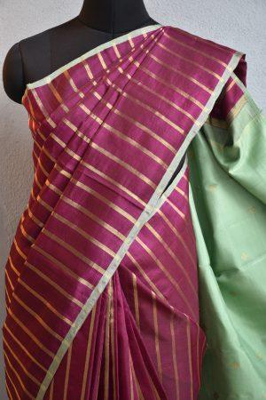 Deep vine colour zari stripes kanchi organza saree 3