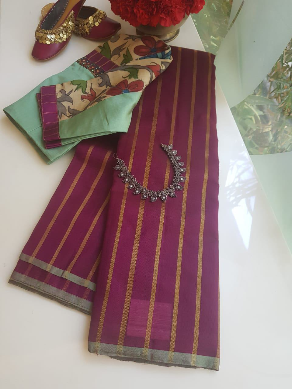 Deep vine colour zari stripes kanchi organza saree