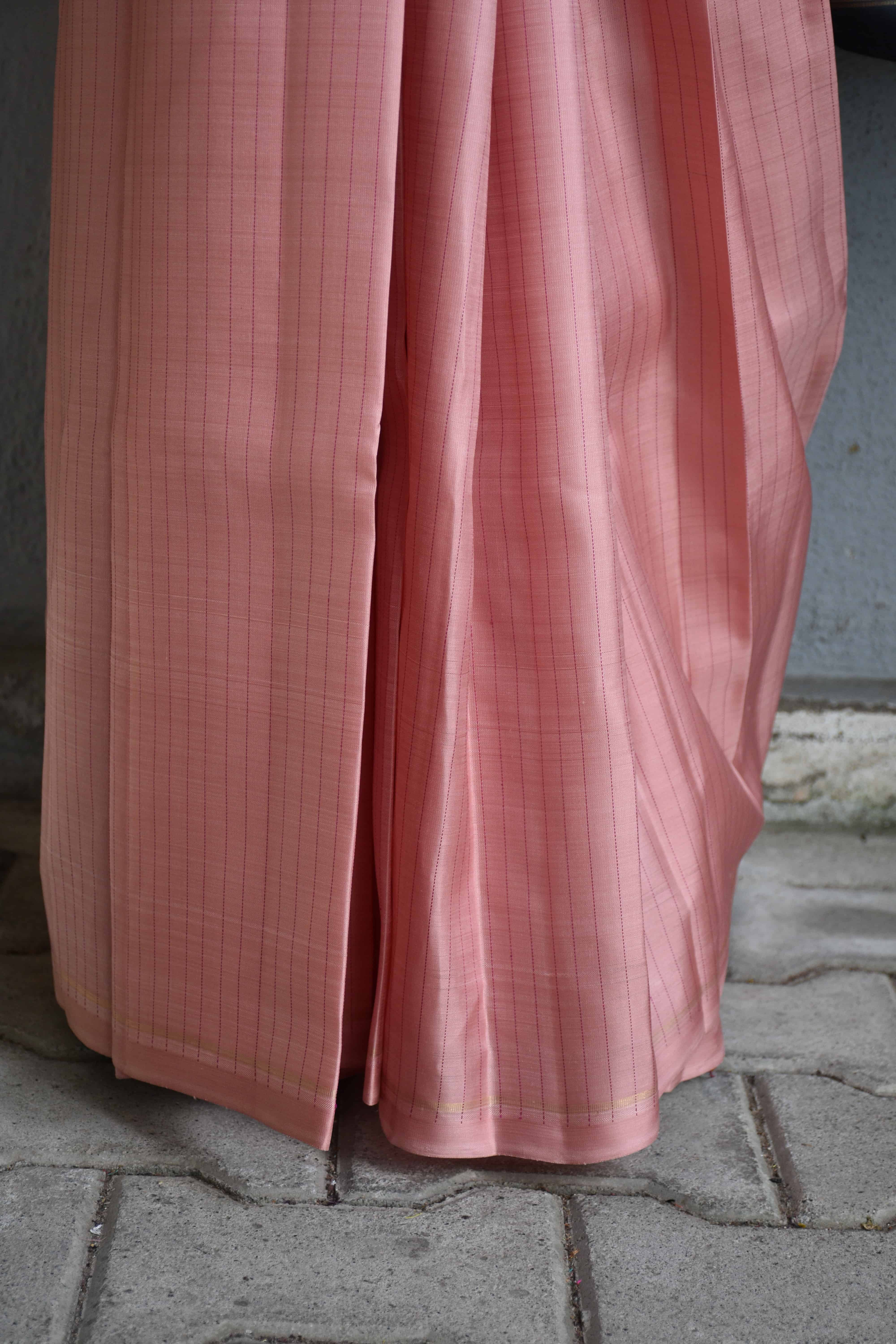 Dusty pink and grey kanchi silk saree 1