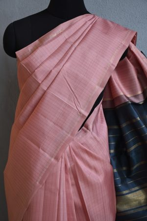 Dusty pink and grey kanchi silk saree 2
