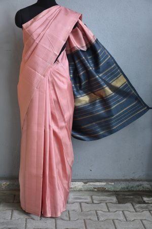 Dusty pink and grey kanchi silk saree