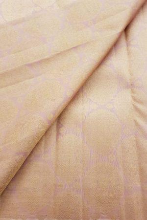 Dusty pink large zari butti kanchi silk fabric