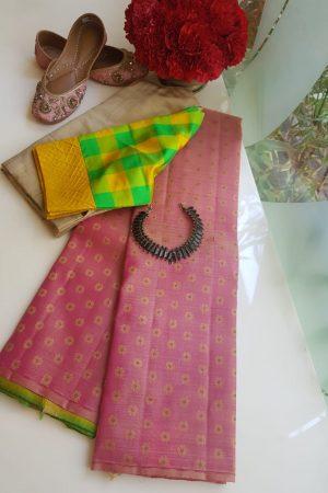 Dusty rose kancheepuram silk saree