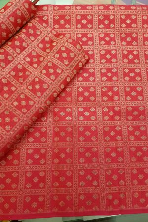 Fuschia pink kanchi silk fabric with silver zari