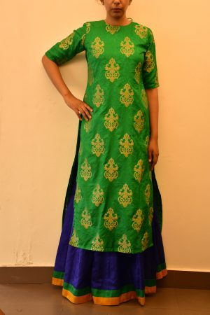 Green benaras silk long kurtaGreen benaras silk long kurta