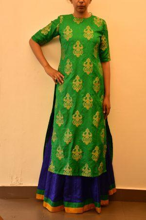 Green benaras silk long kurtaGreen benaras silk long kurta