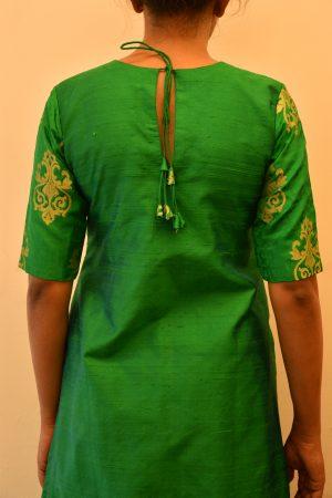 Green benaras silk long kurta1