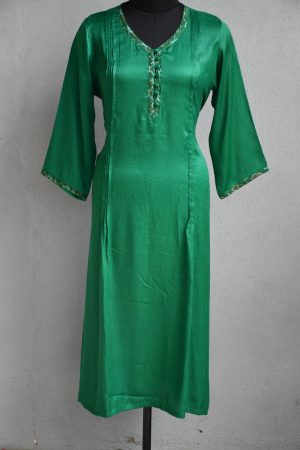 Green gajji silk kurta
