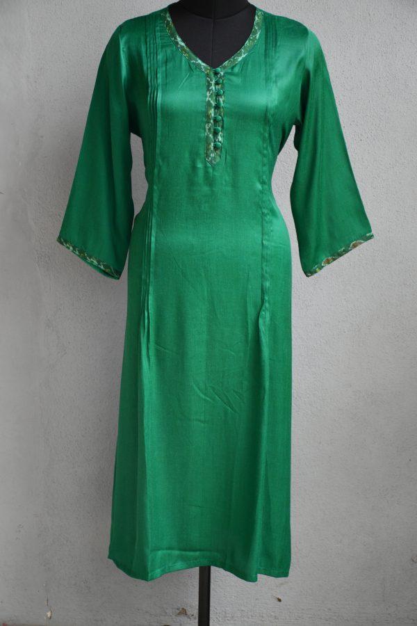 Green gajji silk kurta