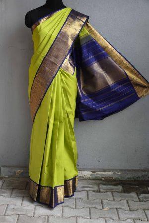 Green kanchi silk saree with blue korvai border 1