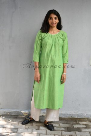 Green plain cotton kurta with pleated neck