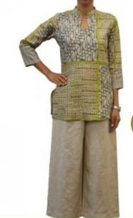 Grey and green printed heavy tussar short kurti