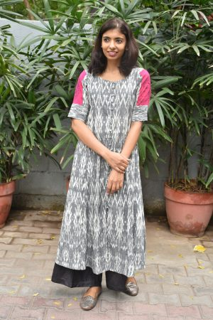 Grey and pink ikat cotton kurta