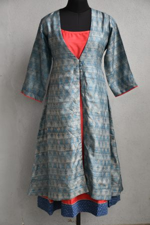 Grey and red tussar layered kurta