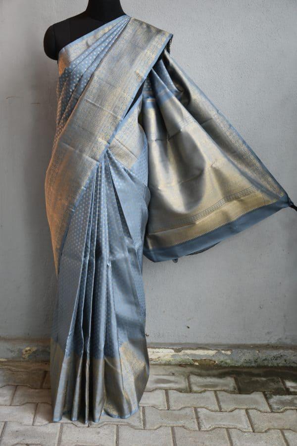 Grey kancheepuram silk saree with self border