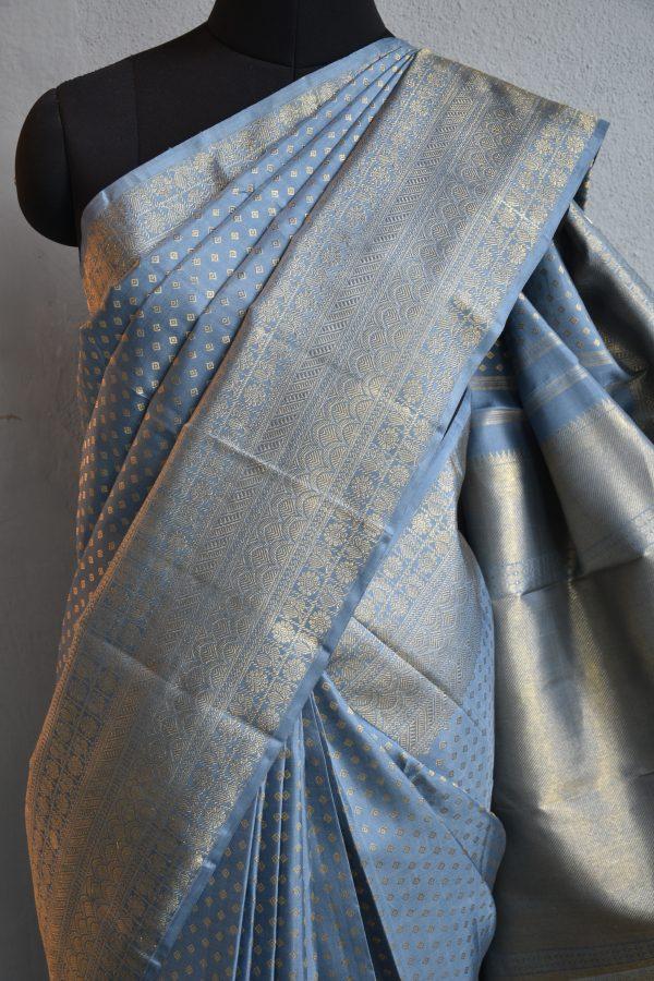 Grey kancheepuram silk saree with self border 3