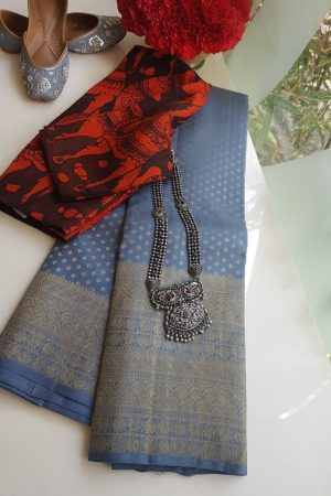 Grey kancheepuram silk saree with self border