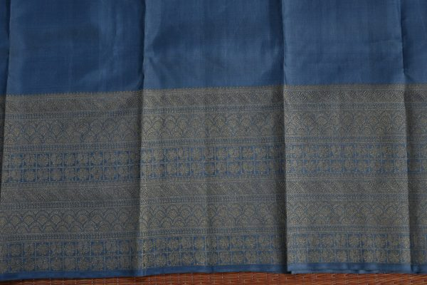 Grey kancheepuram silk saree with self border blouse