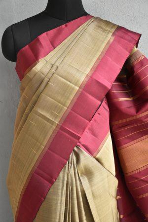 Grey kanchi silk saree with maroon border 3