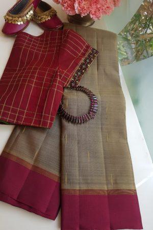 Grey kanchi silk saree with maroon border